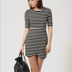 Topshop Petite |Asymmetrical Striped Bodycon Dress